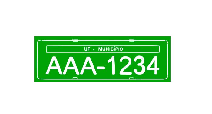 Placa fundo verde, caracteres branco